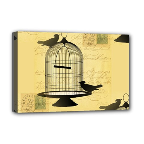 Victorian Birdcage Deluxe Canvas 18  X 12  (framed)