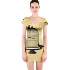 Victorian Birdcage Short Sleeve Bodycon Dress