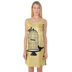 Victorian Birdcage Sleeveless Satin Nightdress