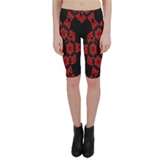 Red Alaun Crystal Mandala Cropped Leggings
