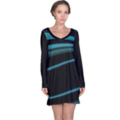 Dark Abstract Print Long Sleeve Nightdress