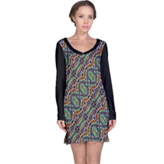 Colorful Tribal Geometric Print Long Sleeve Nightdress