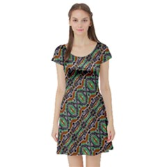 Colorful Tribal Geometric Print Short Sleeve Skater Dress