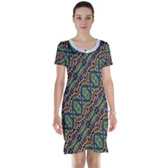 Colorful Tribal Geometric Print Short Sleeve Nightdress