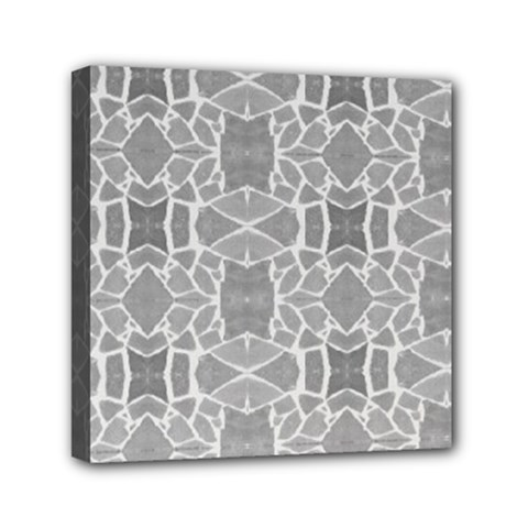 Grey White Tiles Geometry Stone Mosaic Pattern Mini Canvas 6  X 6  (framed)