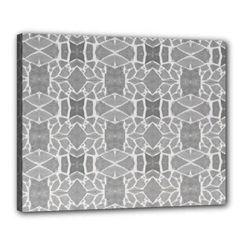 Grey White Tiles Geometry Stone Mosaic Pattern Canvas 20  X 16  (framed)