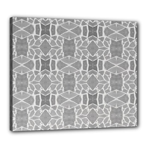 Grey White Tiles Geometry Stone Mosaic Pattern Canvas 24  X 20  (framed)