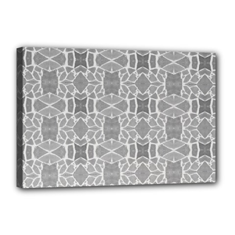 Grey White Tiles Geometry Stone Mosaic Pattern Canvas 18  x 12  (Framed)