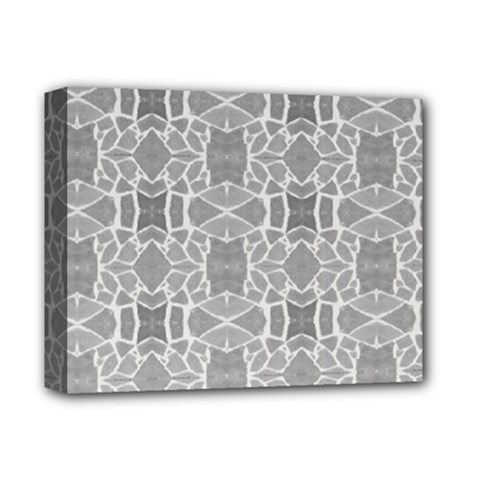Grey White Tiles Geometry Stone Mosaic Pattern Deluxe Canvas 14  X 11  (framed)