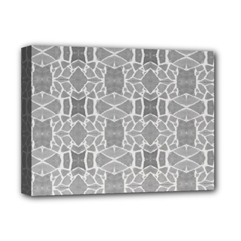 Grey White Tiles Geometry Stone Mosaic Pattern Deluxe Canvas 16  X 12  (framed)