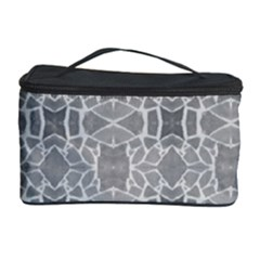 Grey White Tiles Geometry Stone Mosaic Pattern Cosmetic Storage Case