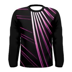 Bending Abstract Futuristic Print Men s Long Sleeve T Shirt