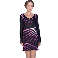 Bending Abstract Futuristic Print Long Sleeve Nightdress