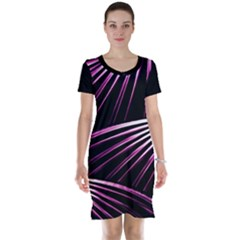 Bending Abstract Futuristic Print Short Sleeve Nightdress