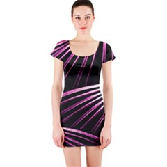 Bending Abstract Futuristic Print Short Sleeve Bodycon Dress