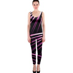Bending Abstract Futuristic Print OnePiece Catsuit