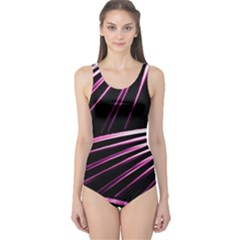 Bending Abstract Futuristic Print Women s One Piece Swimsuit