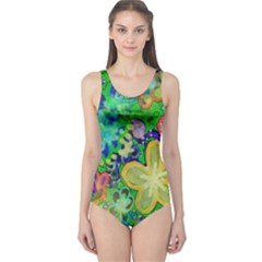 Beautiful Flower Power Batik Women s One Piece Swimsuit