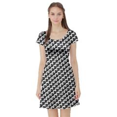 Hot Wife - Queen of Spades Motif Short Sleeve Skater Dress