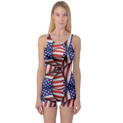 4th of July Modern Pattern Print Women s Boyleg One Piece Swimsuit