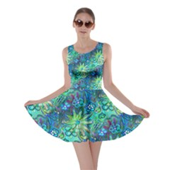 Rokin Aqua Blue Floral Skater Dress