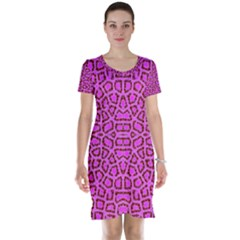 Florescent Pink Animal Print  Short Sleeve Nightdress