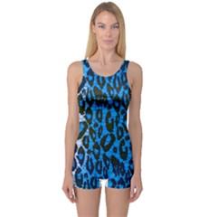 Florescent Blue Cheetah  Women s Boyleg One Piece Swimsuit