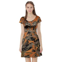Intricate Abstract Print Short Sleeve Skater Dress