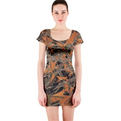 Intricate Abstract Print Short Sleeve Bodycon Dress