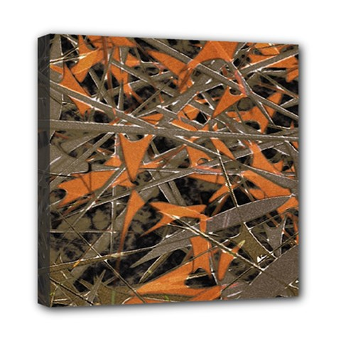 Intricate Abstract Print Mini Canvas 8  X 8  (framed)