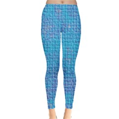 Textured Blue & Purple Abstract Leggings