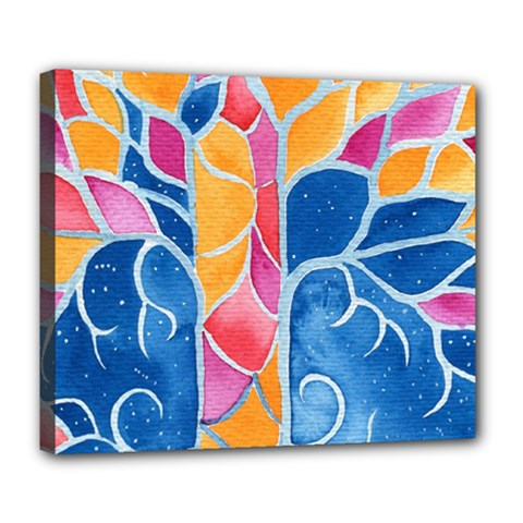 Yellow Blue Pink Abstract  Deluxe Canvas 24  X 20  (framed)