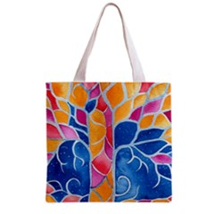 Yellow Blue Pink Abstract  Grocery Tote Bag