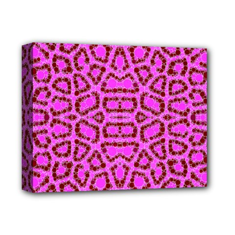 Florescent Pink Animal Print  Deluxe Canvas 14  X 11  (framed)