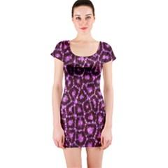 Cheetah Bling Abstract Pattern  Short Sleeve Bodycon Dress