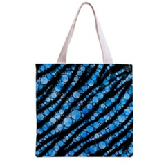 Bright Blue Tiger Bling Pattern  Grocery Tote Bag