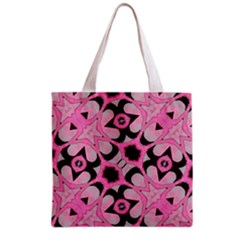 Powder Pink Black Abstract  Grocery Tote Bag