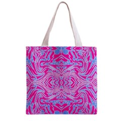 Trippy Florescent Pink Blue Abstract  Grocery Tote Bag