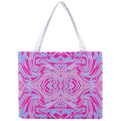 Trippy Florescent Pink Blue Abstract  Tiny Tote Bag
