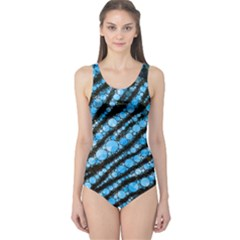 Bright Blue Tiger Bling Pattern  One Piece Swimsuit
