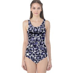 Lavender Cheetah Bling Abstract  One Piece Swimsuit