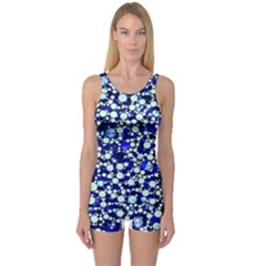 Bright Blue Cheetah Bling Abstract  One Piece Boyleg Swimsuit