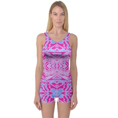 Trippy Florescent Pink Blue Abstract  One Piece Boyleg Swimsuit