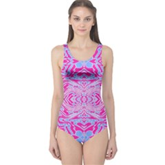 Trippy Florescent Pink Blue Abstract  One Piece Swimsuit