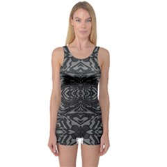 Trippy Black&white Abstract  One Piece Boyleg Swimsuit