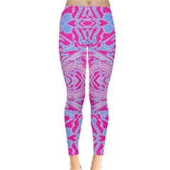 Trippy Florescent Pink Blue Abstract  Leggings