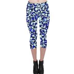 Bright Blue Cheetah Bling Abstract  Capri Leggings
