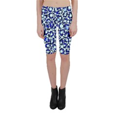 Bright Blue Cheetah Bling Abstract  Cropped Leggings