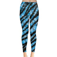 Bright Blue Tiger Bling Pattern  Leggings