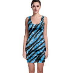 Bright Blue Tiger Bling Pattern  Bodycon Dress